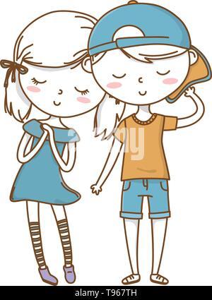 Romantic love couple cute stylish outfit backwards cap dress vector illustration graphic design - Stock Image