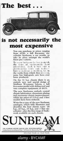 Original 1920s advertisement for the SUNBEAM Motor Car Company of Wolverhampton - Stock Image
