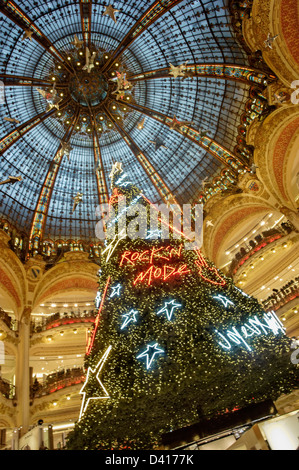 Galerie Lafayette christmas tree under glas dome , Paris , France - Stock Image