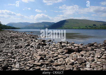 View of the shore of Loch Earn, Perthshire from the southern road around the loch - Stock Image