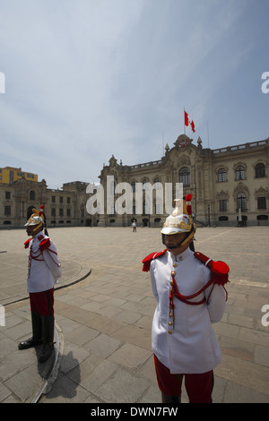 The Government Palace of Peru, known as House of Pizarro, Lima, Peru - Stock Image