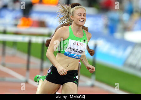 Zurich, Switzerland. 08th, Sep 2011. Australian's Sally Person compete in the final of the Women's 100m hurdle during the IAFF Diamond League Meeting  - Stock Image