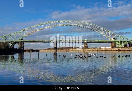 Runcorn Widnes Bridge in Daylight - Stock Image