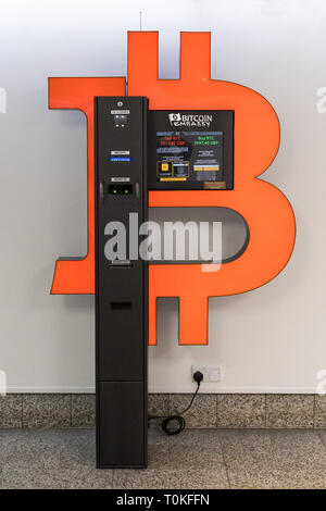 Bitcoin ATM machine inside Trinity Centre, a shopping centre in Aberdeen, Scotland, UK - Stock Image