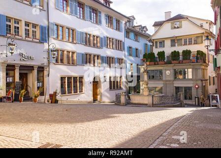 Zurich, Switzerland - March 2017: Spiegelgasse, a narrow street in the Old Town of Zurich, Switzerland - Stock Image