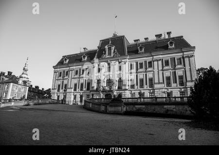 Pszczyna Castle - classical-style palace in the city of Pszczyna. One of the most beautiful castle residences in Poland. Black and white. - Stock Image