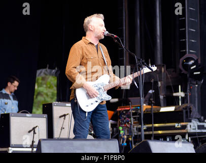 Brighton, UK. 5th September, 2015. Billy Bragg, the left leaning singer songwriter on stage at the first Together - Stock Image