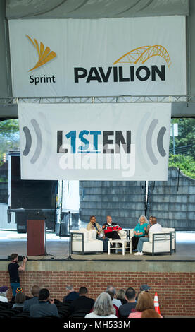 4-21-2018, SPRINT Pavilion, Charlottesville, VA, USA. Listen First was part of the first National Week of Conversation (April 20-28, 2018). Listen First's weekend events in Charlottesville, VA, were created to support healing and reconciliation after 2017 white supremacist and pro-confederacy protests left one woman dead and a community divided. Event Sponsors included local and national organizations included Black Lives Matter, Bridge Alliance, Better Angels and Common Ground Committee. - Stock Image