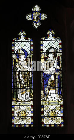 Stained glass window depicting saints Ambrose and Augustine, St Peter's Church, Deene, Northamptonshire - Stock Image