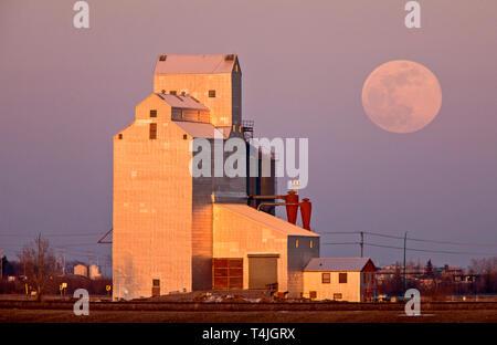 Grain Elevator Full Moon rural Saskatchewan Canada - Stock Image