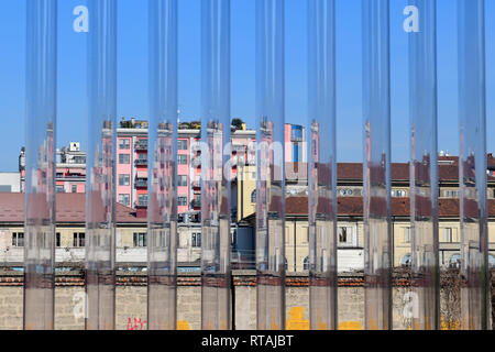 The city of Milan seen from the entrance of the new Torre building within the Fondazione Prada cultural complex, Milan, Italy - Stock Image