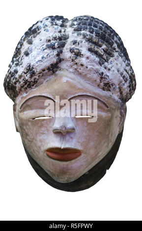 African tribal mask from Pende people mask, Republic of the Congo - Stock Image