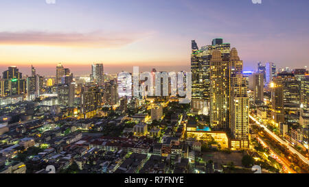 Skyline Bangkok , Sathorn district, Thailand, Asia, - Stock Image