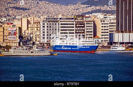 2wayferries Apollon Hellas moored in port of Piraeus Athens Greece Europe - Stock Image