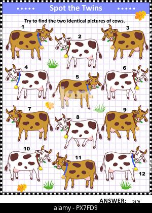Visual logic puzzle with spotted milk cows: Can you find the two identical pictures? Answer included. - Stock Image