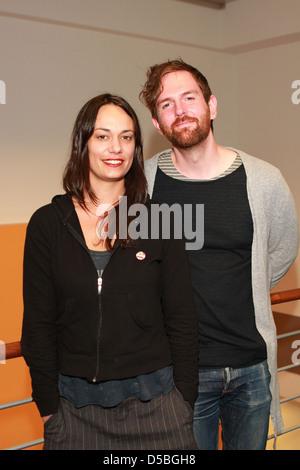 Michael Grubbs and Tanya Buziak of Wakey!Wakey! during a promotional visit to radio station Radio Hamburg. Hamburg, - Stock Image