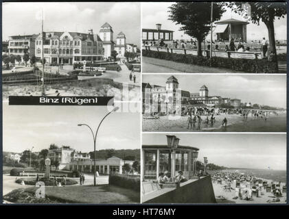GERMANY - CIRCA 1969: A postcard printed in Germany, depicts the attractions of Binz (Ruegen), circa 1969 - Stock Image