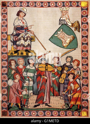Early 1300s musicians playing dulcimer, bagpipes, viola, fife, and drum. Miniature from Manesse Codex, manuscript, - Stock Image