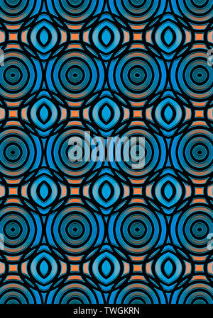 Monochrome seamless background collected from intersecting blue ovals lying on the convex pale orange highlights - Stock Image