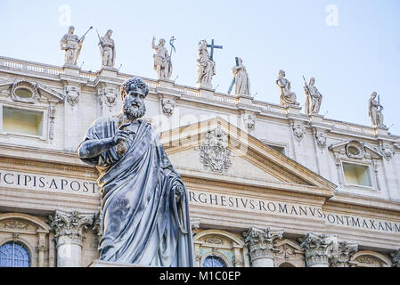 The Exterior of St Peter's Basilica in Vatican City just outside of Rome, Italy - Stock Image
