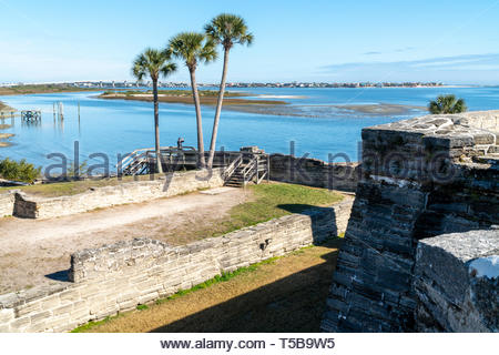 A visitor takes a snap of the Castillo de San Marcos, a Spanish fortification at St. Augustine, Florida USA - Stock Image