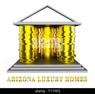 Arizona Luxury Homes Means High Class Accomodation With Expensive Lifestyle 3d Illustration - Stock Image