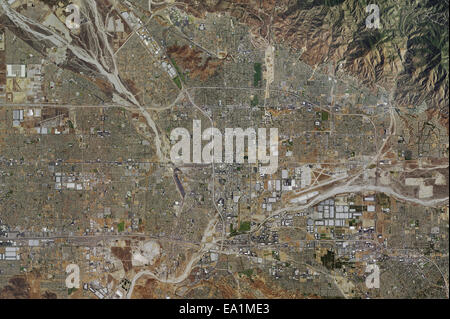 aerial photo map of City of San Bernadino, San Bernadino County, California, 2014 - Stock Image