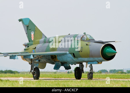 Croatian Air Force MiG-21 BISD '120' fighter taxiing - Stock Image