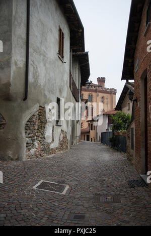Street view of the small town of Barolo in Italy's Piedmont - Stock Image