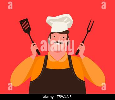 Chef holding kitchen tools for grill. Barbecue, cartoon vector illustration - Stock Image