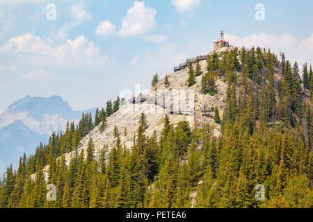 Boardwalk on Sulphur Mountain in Banff National Park leads to Historic Cosmic Ray and Weather Station on Sanson's Peak in the Canadian Rockies. - Stock Image