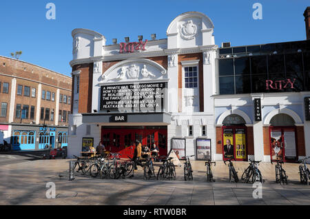 Brixton street scene Ritzy Cinema and Bar exterior view showing movies films in Brixton South London UK  KATHY DEWITT - Stock Image