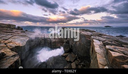 The Natural Bridge at sunrise. Torndirrup National Park, Albany, Australia - Stock Image