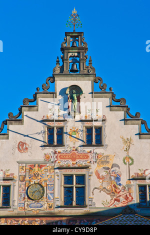 PAINTING AT THE FAMOUS OLD TOWN HALL, RENAISSANCE HOUSE FROM 1422, LINDAU, LAKE CONSTANCE, BAVARIA, GERMANY - Stock Image