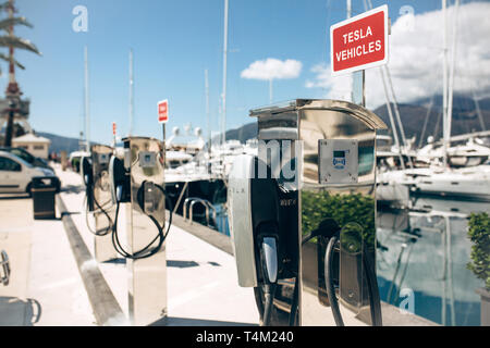 Montenegro, Tivat, April 9, 2019: Modern Tesla electric filling stations in the port of Porto Montenegro for refueling electric cars and vehicles. - Stock Image
