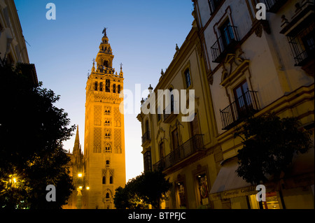 Giralda at dusk, Seville, Andalucia, Spain - Stock Image