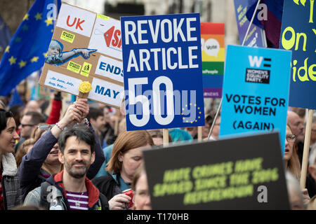 Placards and marchers, People's Vote March, London, England - Stock Image