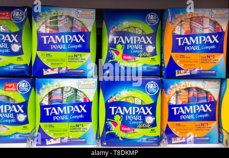 Procter & Gamble Tampax Pearl tampons on a shelf in a supermarket in London, UK - Stock Image