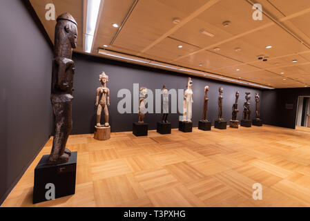 Tenerife Spain - February 8 2019 : Traditional wooden African tribal masks at itinerant African exhibition . - Stock Image