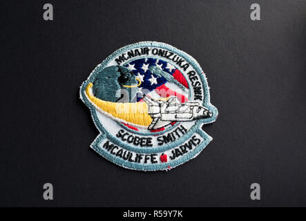 NASA mission patch from the fateful 1986 Space Shuttle Challenger.  NASA mission badge. - Stock Image