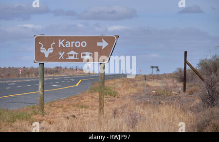 Entry sign of the Karoo National Park, out of Beaufort West South Africa. - Stock Image