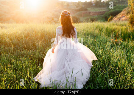 Rear view of bride in wedding dress walking in grass - Stock Image