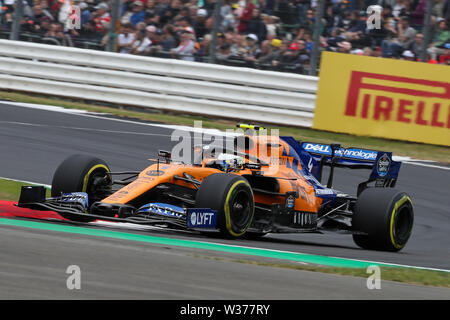 Silverstone Circuit. Northampton, UK. 13th July, 2019. FIA Formula 1 Grand Prix of Britain, Qualification Day; Lando Norris driving his McLaren F1 Team MCL34 Credit: Action Plus Sports/Alamy Live News - Stock Image