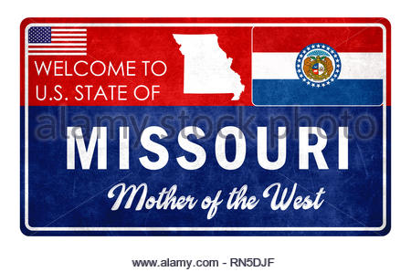Welcome to Missouri - grunde sign - Stock Image