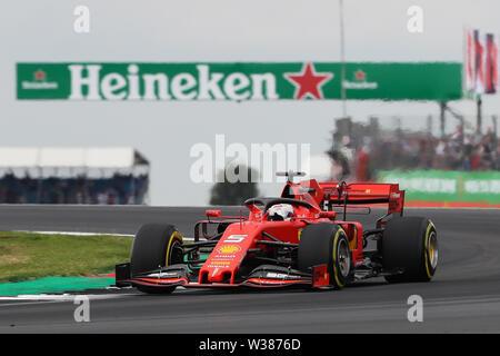 Silverstone Circuit. Northampton, UK. 13th July, 2019. FIA Formula 1 Grand Prix of Britain, Qualification Day; Sebastian Vettel driving his Scuderia Ferrari Mission Winnow SF90 Credit: Action Plus Sports/Alamy Live News - Stock Image