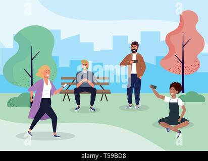 funny people with casual clothes and smartphone vector illustration - Stock Image