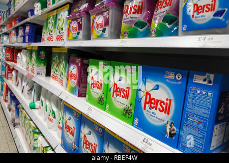 laundry detergent in a supermarket shelf - Stock Image
