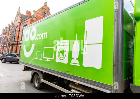 AO delivery, AO.com, Delivering AO appliances, AO delivery truck, AO, delivery, delivering, appliances, lorry, truck, AO electrical, electrical goods, - Stock Image