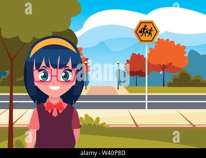 school girl with bag in the street vector illustration - Stock Image