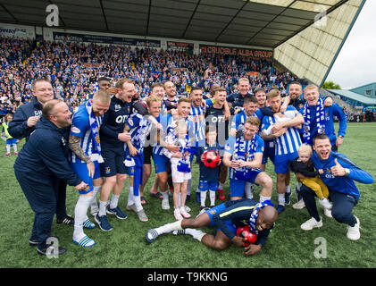 Kilmarnock team celebrate after securing a European place for next season after defeating Rangers 2-1 during the Ladbrokes Scottish Premiership match at rugby Park, Kilmarnock. - Stock Image